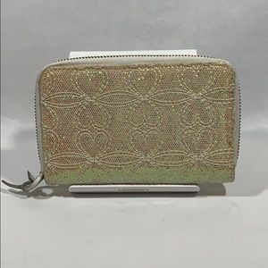 DEUX LUX White Shimmery Zip card Wallet
